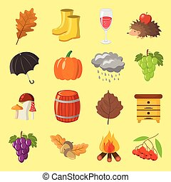 Autumn. Cartoon and flat style. Icon objects set for design with background.