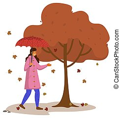 Autumn cartoon girl holding an umbrella, standing under broun tree, isolated on white background