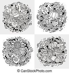 Autumn cartoon vector doodle illustration