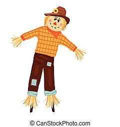 Autumn celebrations with cute scarecrow. Isolated over white background. Vector illustration saved as EPS AI 8, no effects, no filters, no gradients, easy printing.