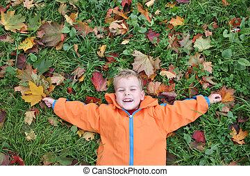 autumn child lies