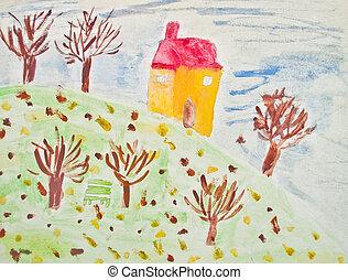 Autumn - Child's painting
