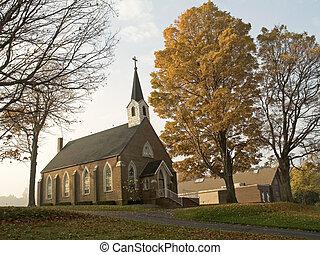 Autumn Church - This is a shot of an old church on a foggy...