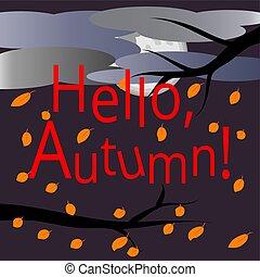autumn., ciao, circondato, rami, cartolina, testo, volare, cielo, leaves., albero, clouds., autunno, fondo., landscape:, multi-colored, coperto, foglie, acero