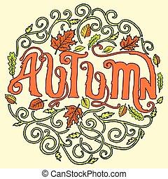 Autumn circle art decoration ornament background concept. Vector illustration design label element template