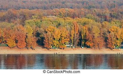 Autumn city beach. Dnieper river, Kyiv, Ukraine.