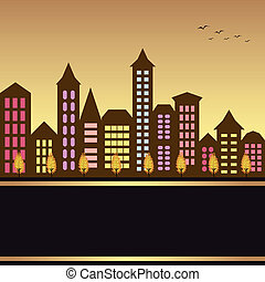Autumn cityscape illustration with colorful building and...