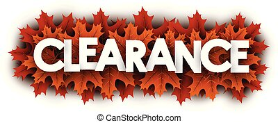 Autumn clearance sign with orange maple leaves.