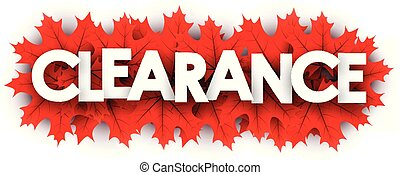 Autumn clearance sign with red maple leaves.