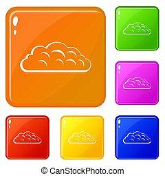 Autumn cloud icons set color