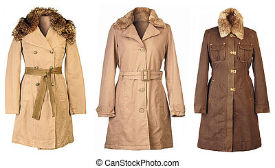Autumn Coats - Three woolen coats isolated on white...