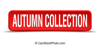 autumn collection red three-dimensional square button isolated on white background