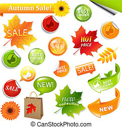 Autumn Collection Sale Elements, Vector Illustration