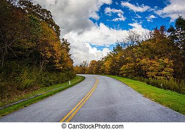 Autumn color along the Blue Ridge Parkway, North Carolina.