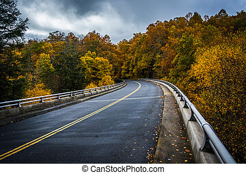 Autumn color and bridge on the Blue Ridge Parkway in North Carolina.