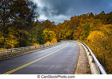 Autumn color and bridge on the Blue Ridge Parkway in North Carol