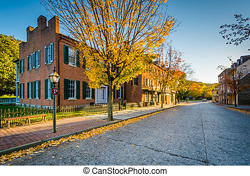 Autumn color and buildings on Shenandoah Street, in Harpers Ferry, West Virginia.