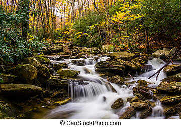 Autumn color and cascades on Boone Fork along the Blue Ridge Parkway, North Carolina.