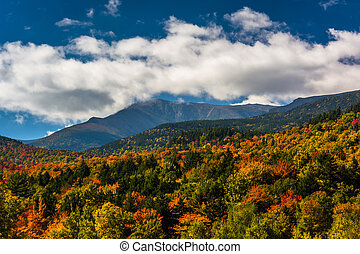 Autumn color and view of the Presidential Range in White...