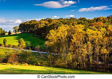 Autumn color in rural York County, Pennsylvania. - Autumn...