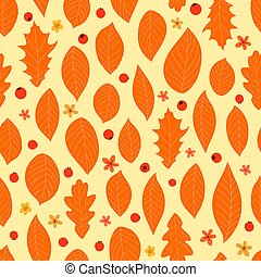 Autumn color leaves seamless pattern