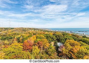 Autumn colored scene near harbor of Lake Superior