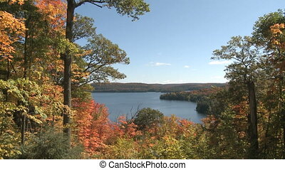 Autumn colorful foliage over lake with beautiful forest in...