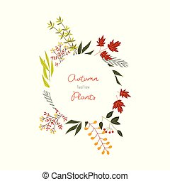 Autumn colorful plants and leaves in decorative element of circle form with copy space.