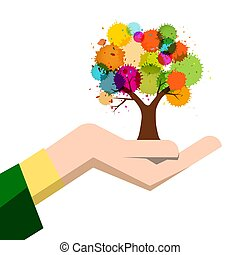 Autumn Colorful Tree in Human Hand Isolated on White Background