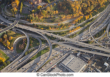 Autumn Colors at Highway Interchange at Sunset - Aerial view...