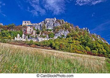 Autumn colors of Kalnik mountain, old fortress on the ridge