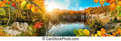 Autumn colors on a magnificent day at a blue lake