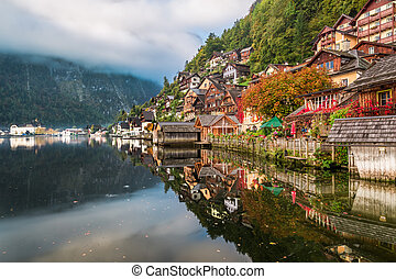 Autumn colors on Lake in Hallstatt