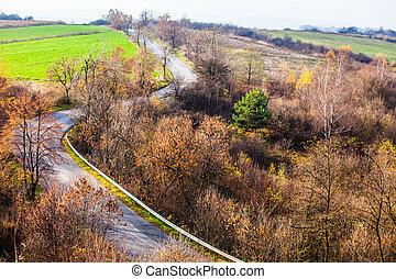 Autumn colors rural landscape near Ogrodzieniec, Poland