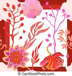 Autumn colors. Silk scarf with blooming fantasy flowers.