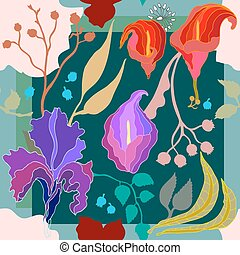 Autumn colors. Silk scarf with blooming flowers.