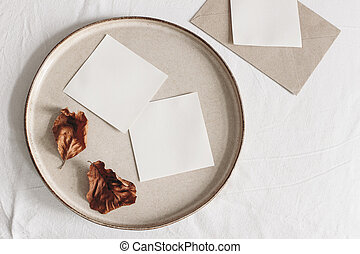 Autumn composition. Blank memo cards mockups, craft envelope...