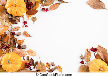 Autumn composition. blanket, autumn leaves and pumkin on white background. Flat lay, top view copy space.