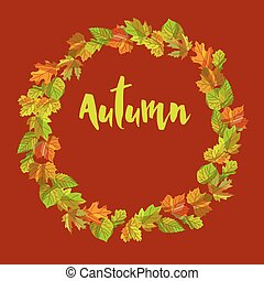 Autumn composition of colorful leaves put in wreath