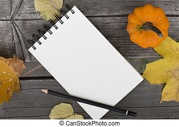 Autumn composition with blank notebook fallen leaves and pumpkin