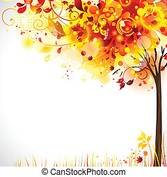 autumn composition with bright tree