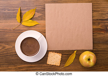 Autumn composition with coffee and leaves