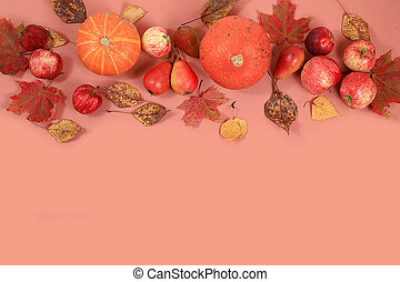Autumn composition with seasonal leaves, pumpkins, apples on a pastel background, Minimal Happy Thanksgiving concept, postcard, selective focus., Flat lay,