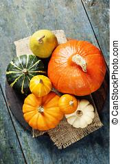 Autumn concept with decorative pumpkins