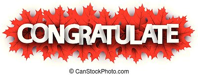 Autumn congratulate sign with red maple leaves.