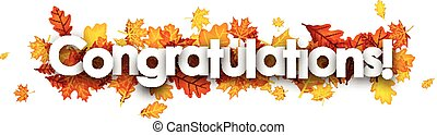 Autumn congratulations banner with leaves.