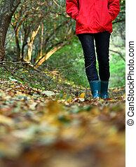 Autumn copy space - Autumn walk with copy space. Woman...