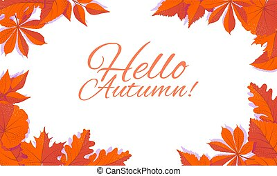 Autumn corner concept for frames with falling leaves on white background. vector isolated illustration.