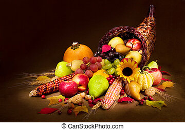 Autumn Cornucopia - Horn of Plenty in warm light