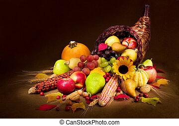 Autumn Cornucopia - Horn of Plenty in warm light